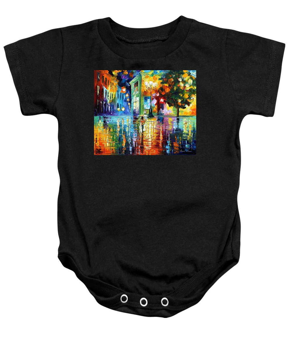 City Baby Onesie featuring the painting Psychedelic City by Leonid Afremov