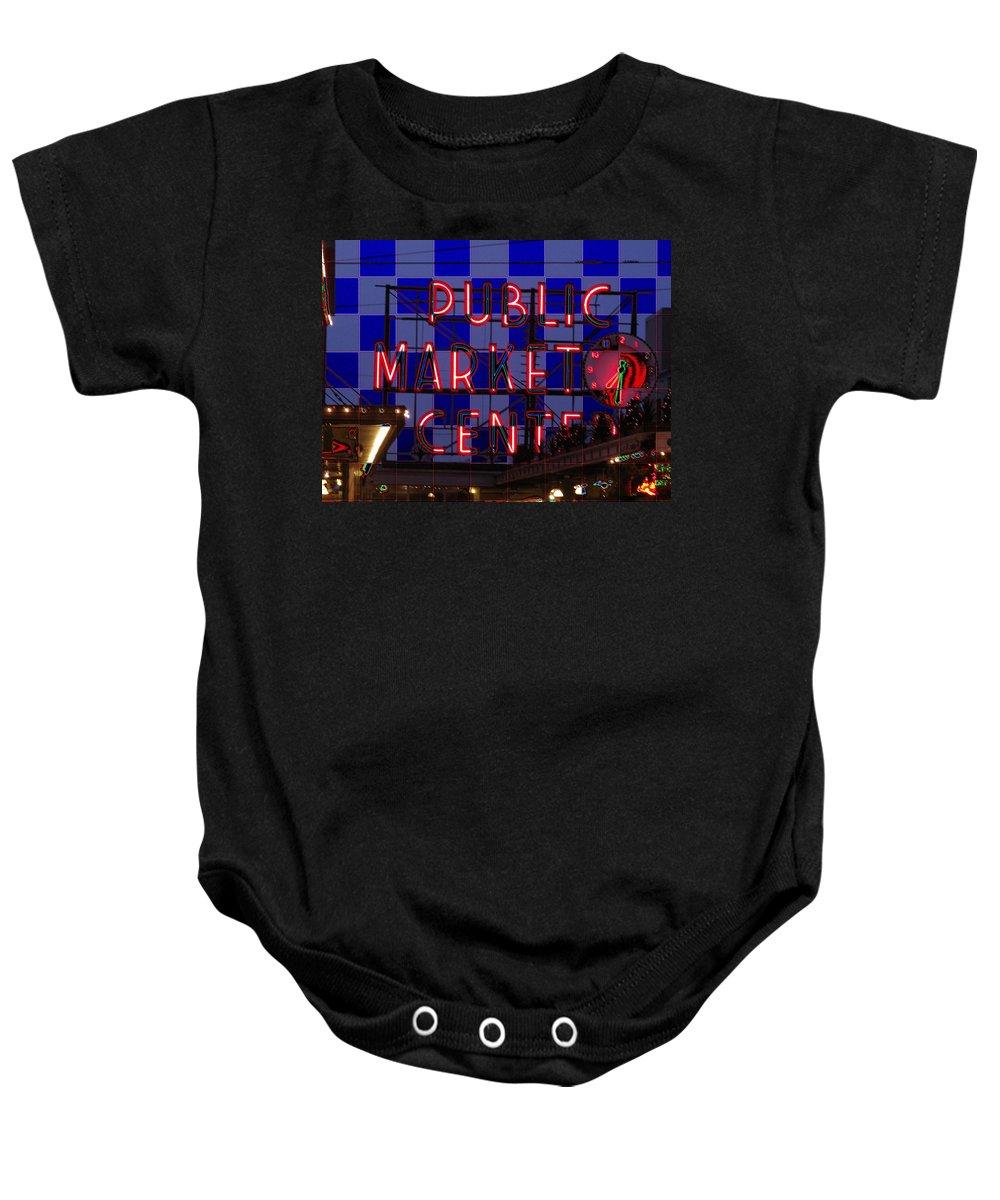 Seattle Baby Onesie featuring the digital art Public Market Checkerboard by Tim Allen