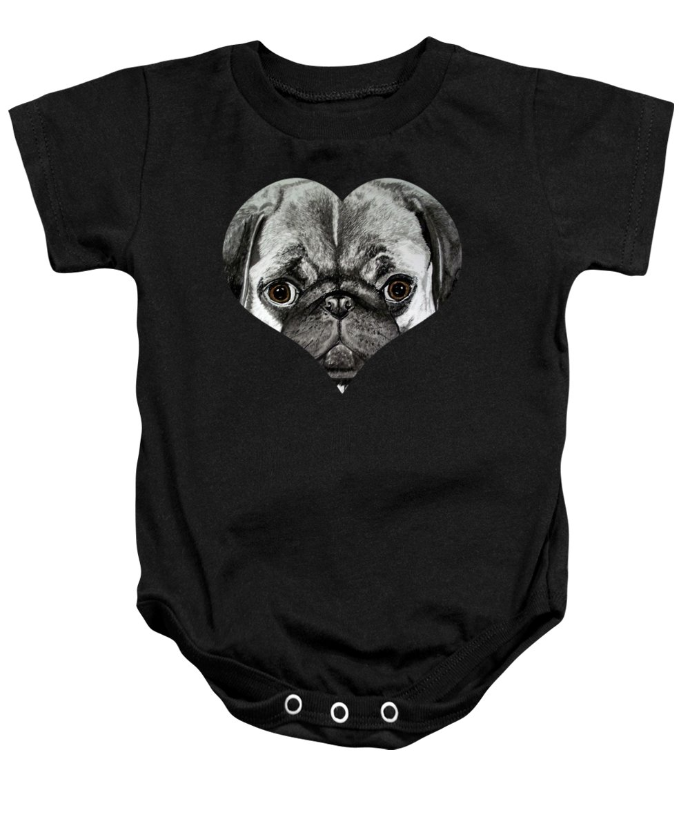 Dogs Baby Onesie featuring the painting Pug by Teresa Peterson