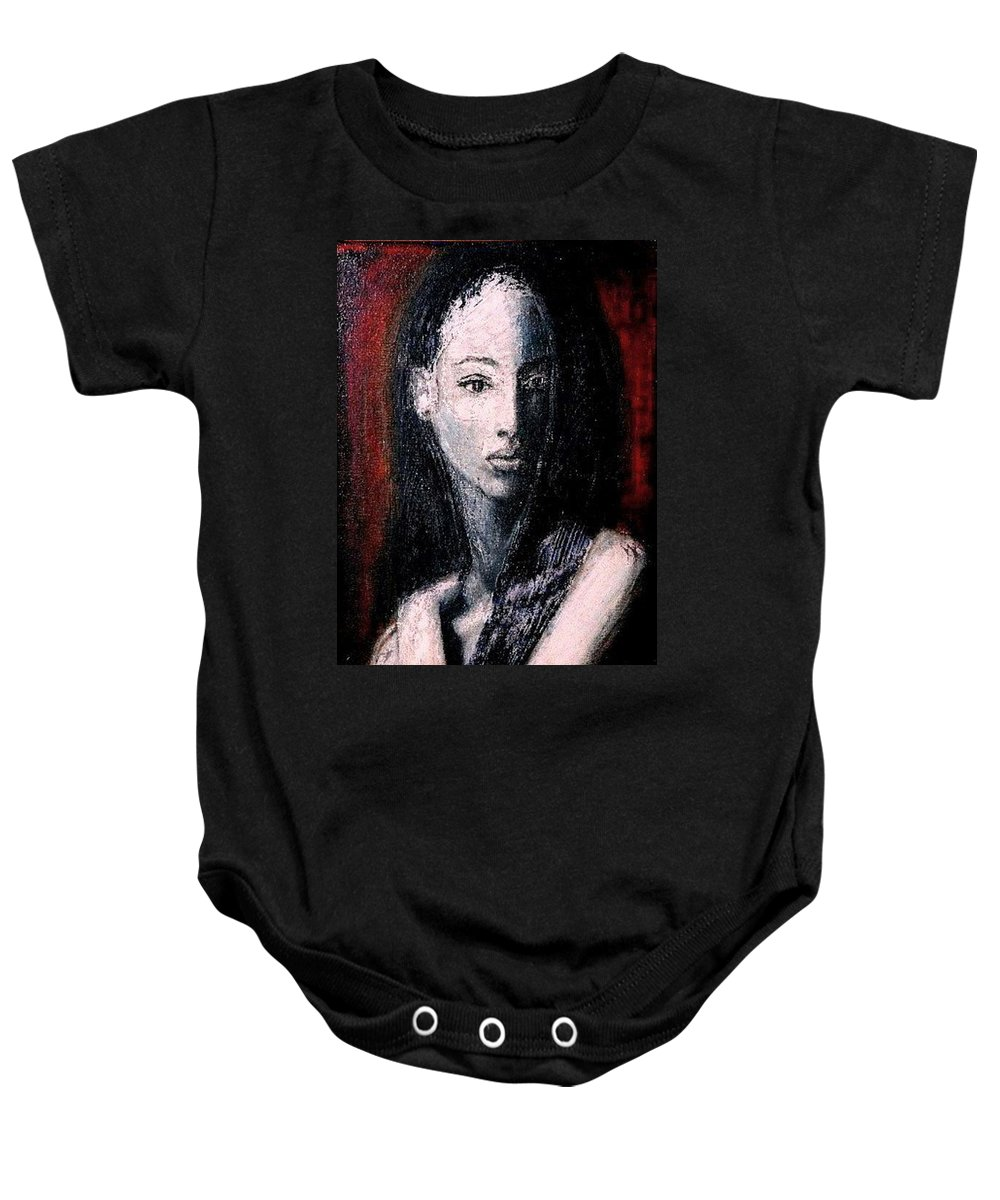 Portrait Art Baby Onesie featuring the painting Pulsar by Jarmo Korhonen aka Jarko