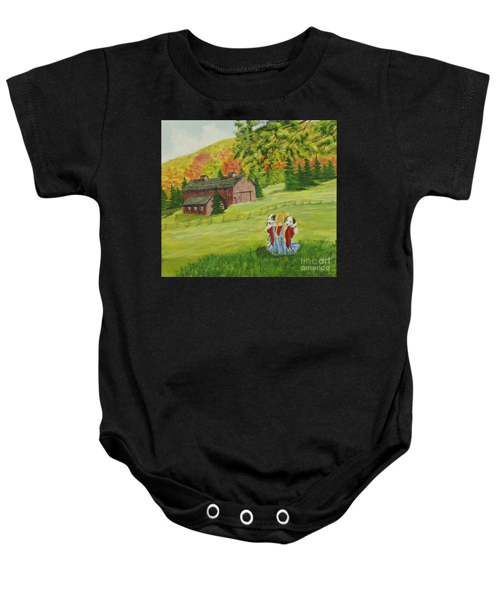 Country Kids Art Baby Onesie featuring the painting Puppy Love by Charlotte Blanchard