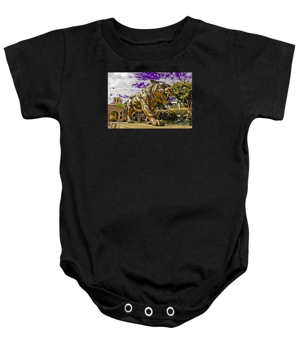 Statue Baby Onesie featuring the photograph Purple And Gold by Scott Pellegrin