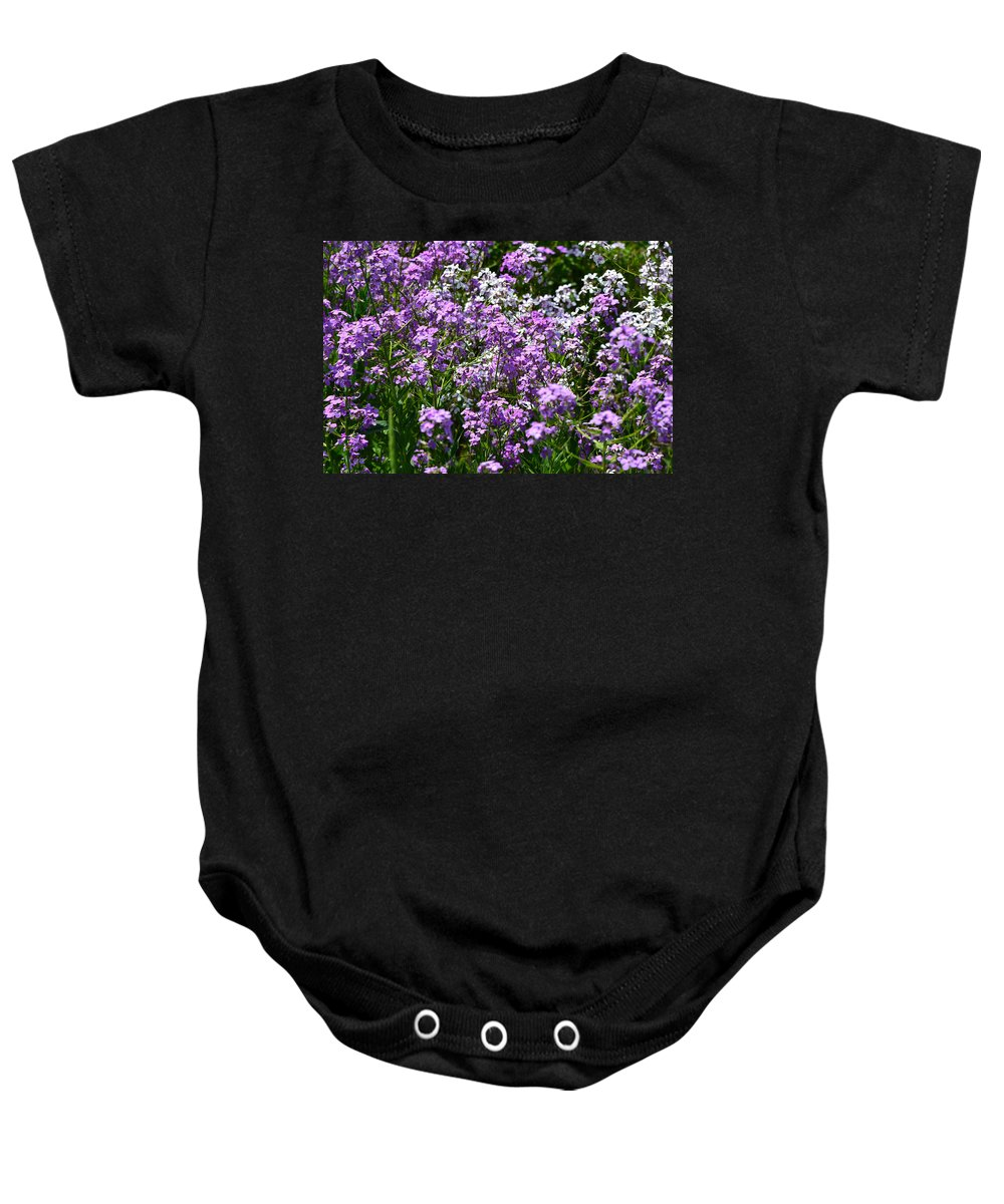 Flowers Baby Onesie featuring the photograph Purple And White by Michael Hills