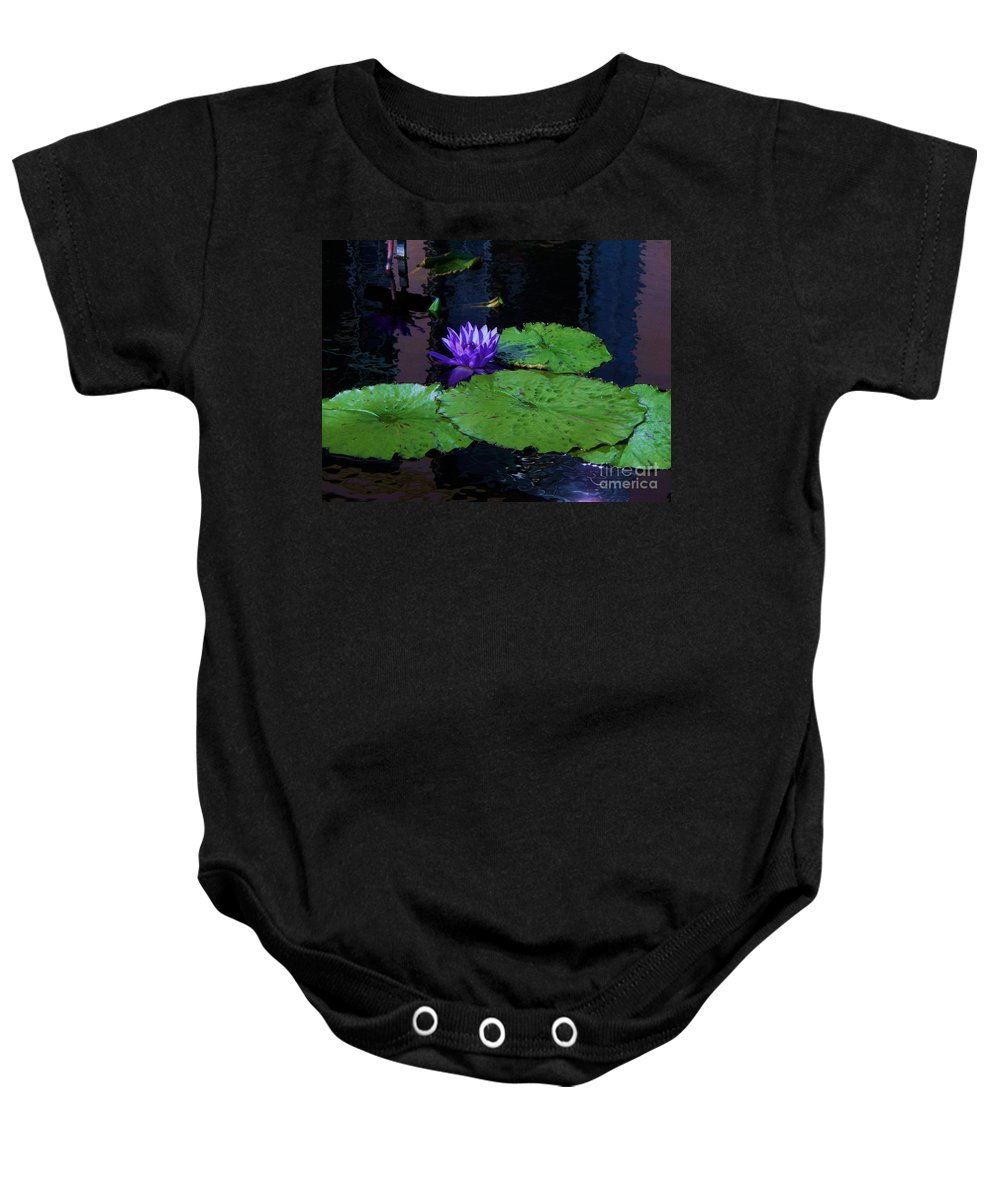 Photograph Baby Onesie featuring the photograph Purple Blue Lily by Eric Schiabor