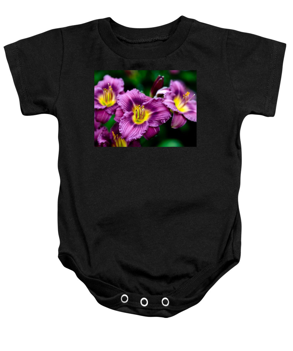 Flower Baby Onesie featuring the photograph Purple Day Lillies by Marilyn Hunt