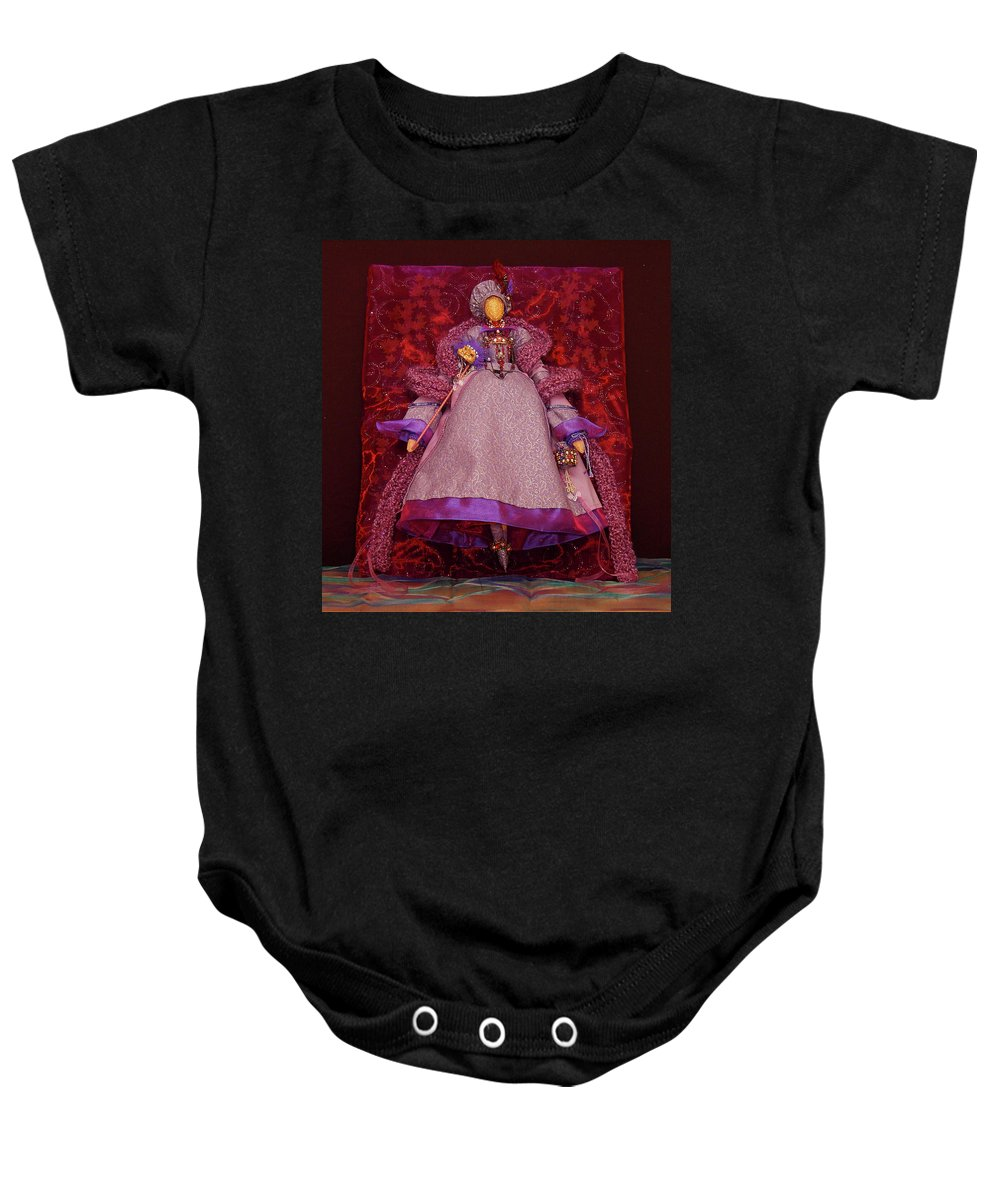 Purple Doll Art Baby Onesie featuring the mixed media Purple Doll by Judy Henninger