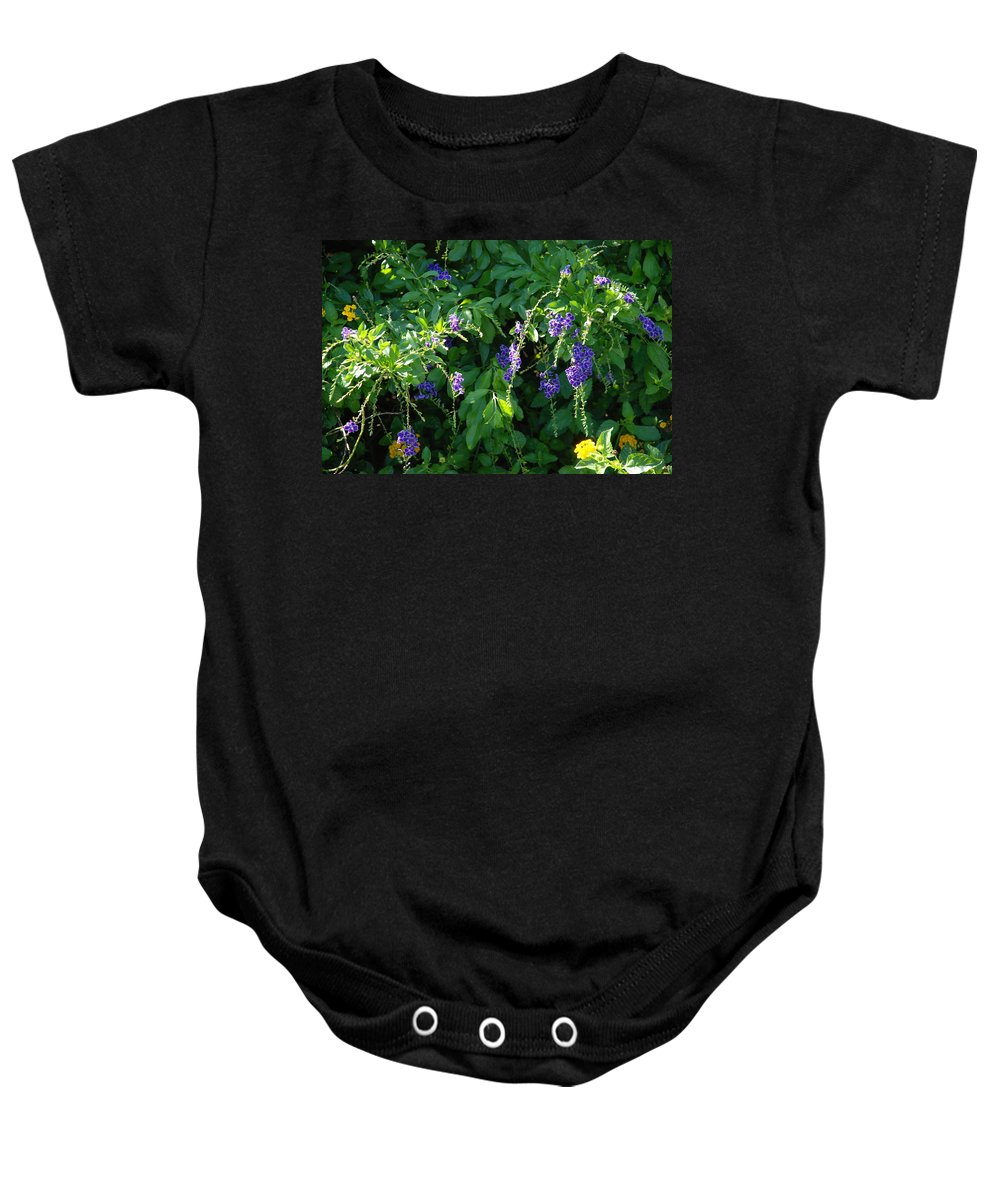 Floral Baby Onesie featuring the photograph Purple Hanging Flowers by Rob Hans