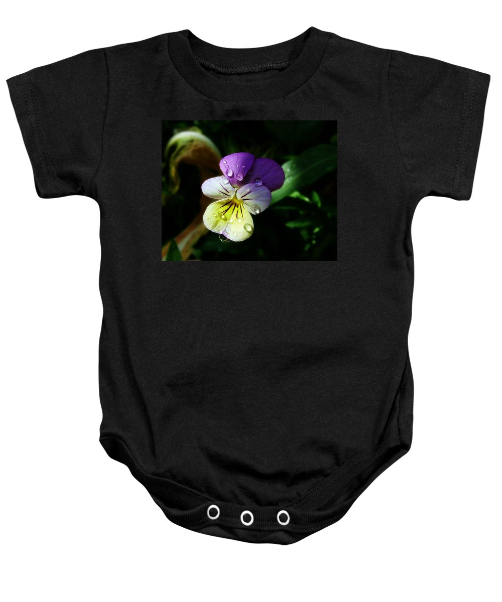 Flower Baby Onesie featuring the photograph Purple Pansy by Anthony Jones