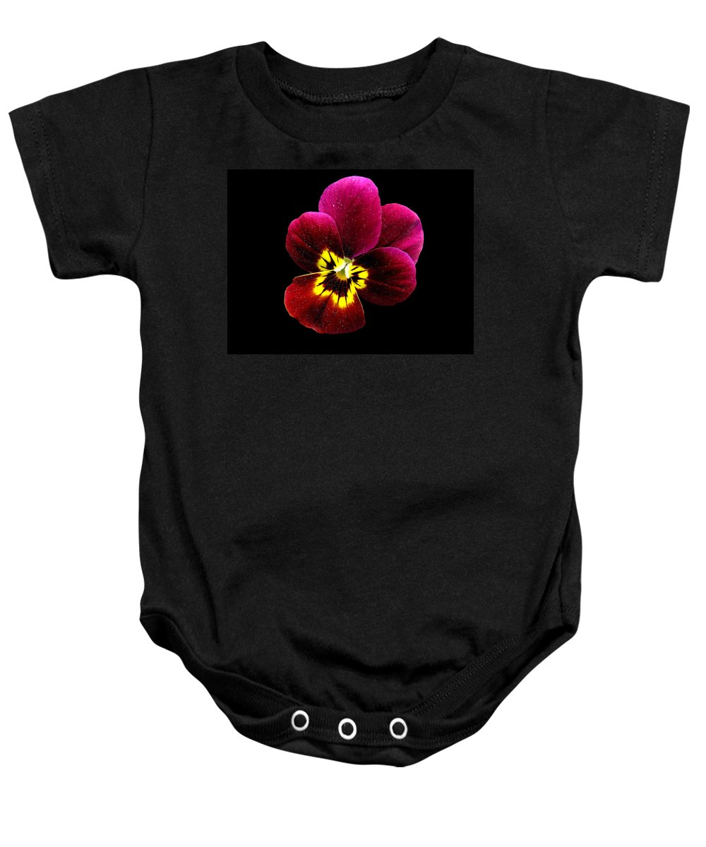 Pansies Baby Onesie featuring the photograph Purple Pansy On Black by J M Farris Photography
