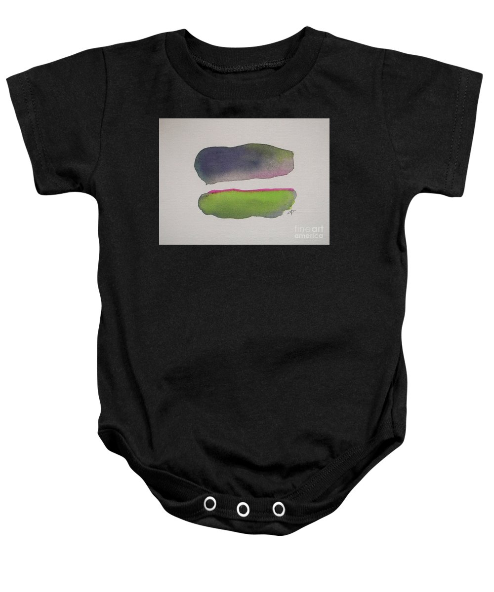 Abstract Baby Onesie featuring the painting Purple Rain by Vesna Antic