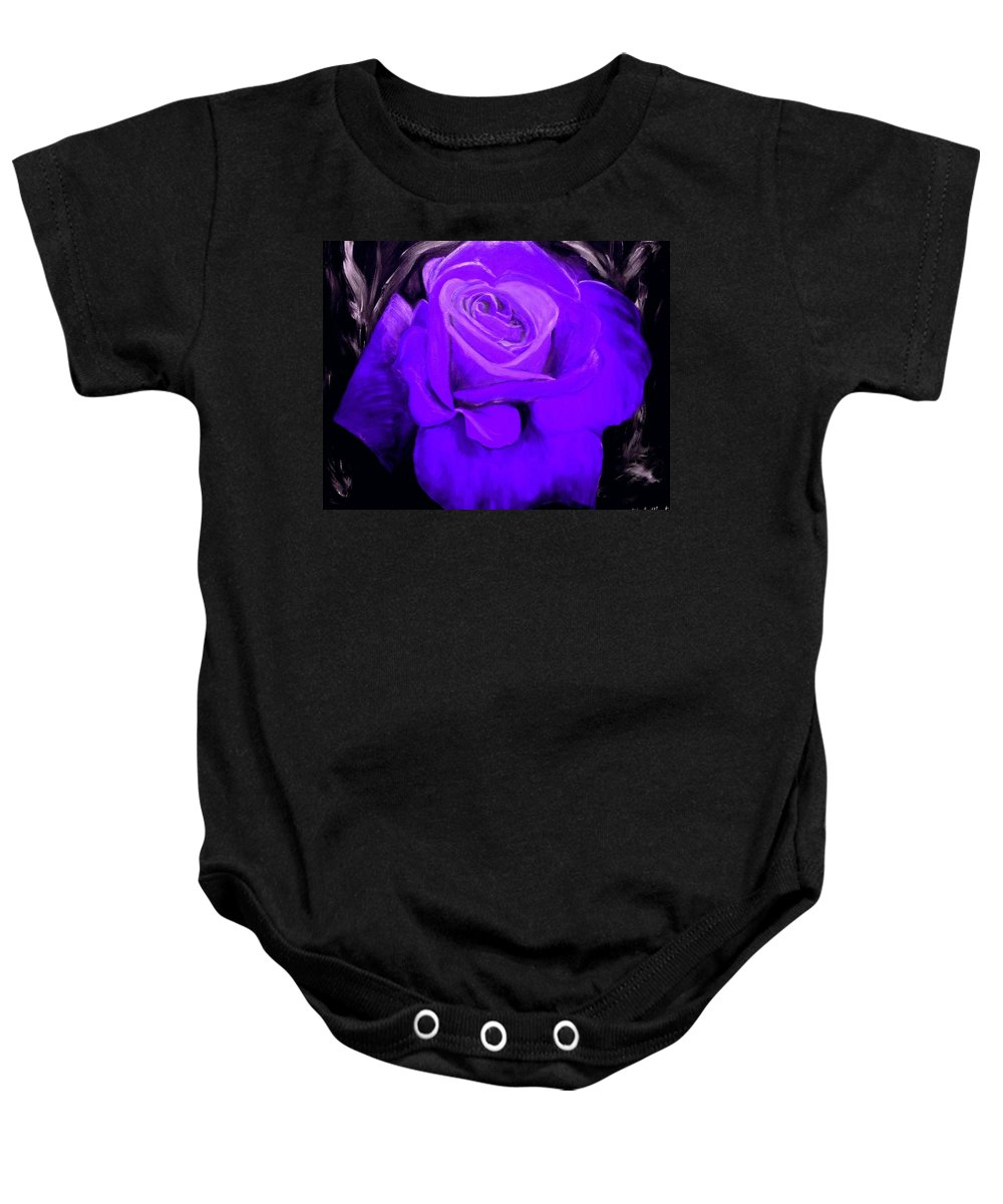 Rose Baby Onesie featuring the painting Purple Rose by Nicole Clark
