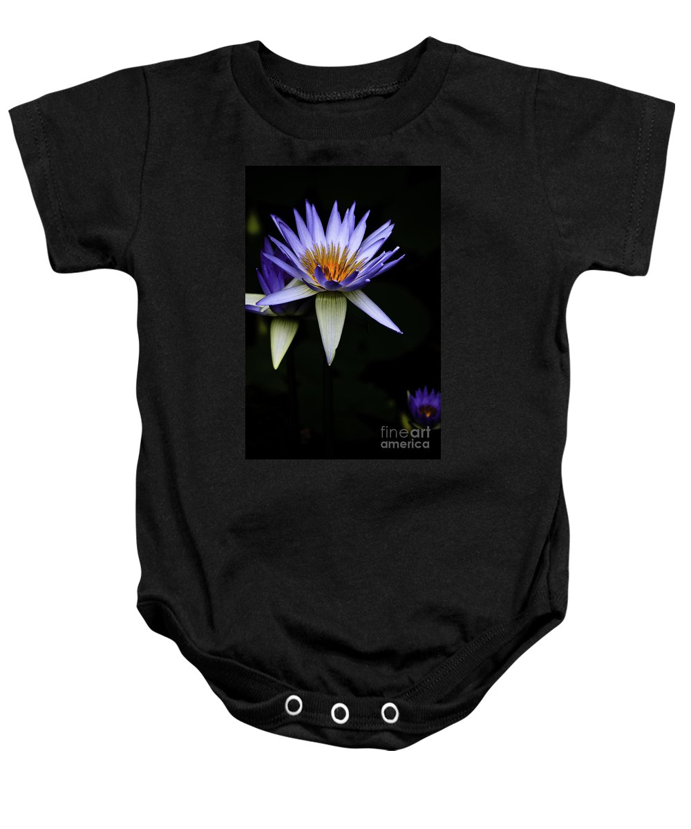 Purple Waterlily Water Lily Flower Flora Baby Onesie featuring the photograph Purple Waterlily by Sheila Smart Fine Art Photography