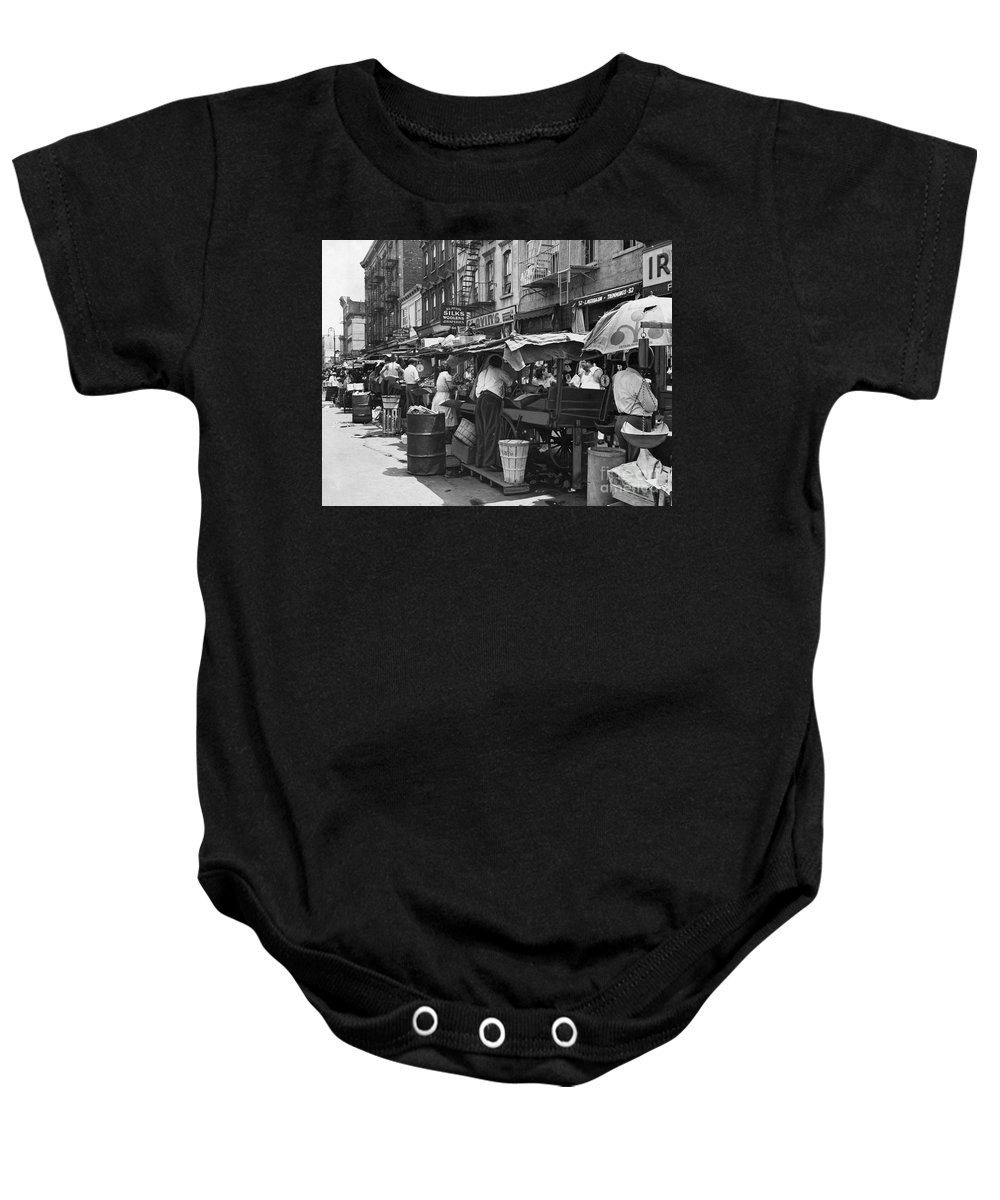 1939 Baby Onesie featuring the photograph Pushcart Market, 1939 by Granger