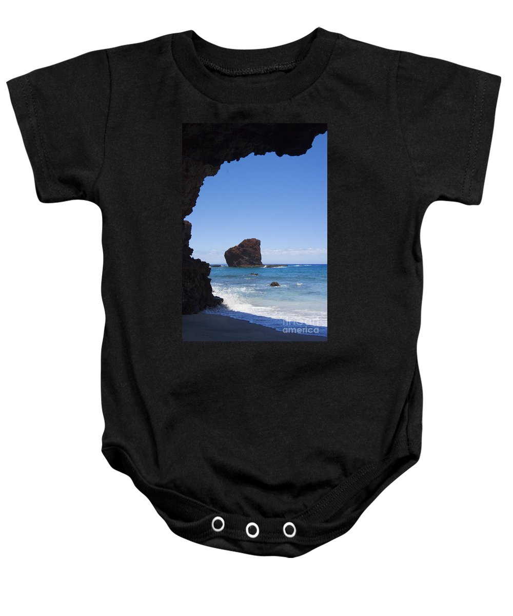 Beach Baby Onesie featuring the photograph Puu Pehe, Sweetheart Roc by Ron Dahlquist - Printscapes