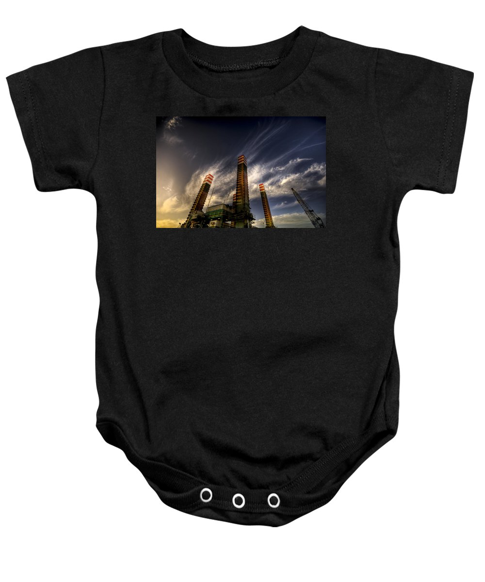 Pylons Baby Onesie featuring the photograph Pylons by Wayne Sherriff