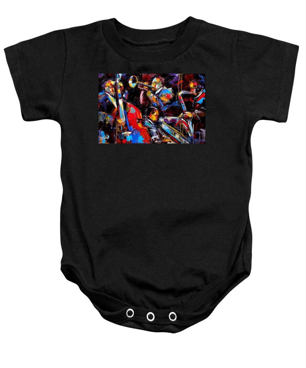 Jazz Paintings Baby Onesie featuring the painting Quartet by Debra Hurd