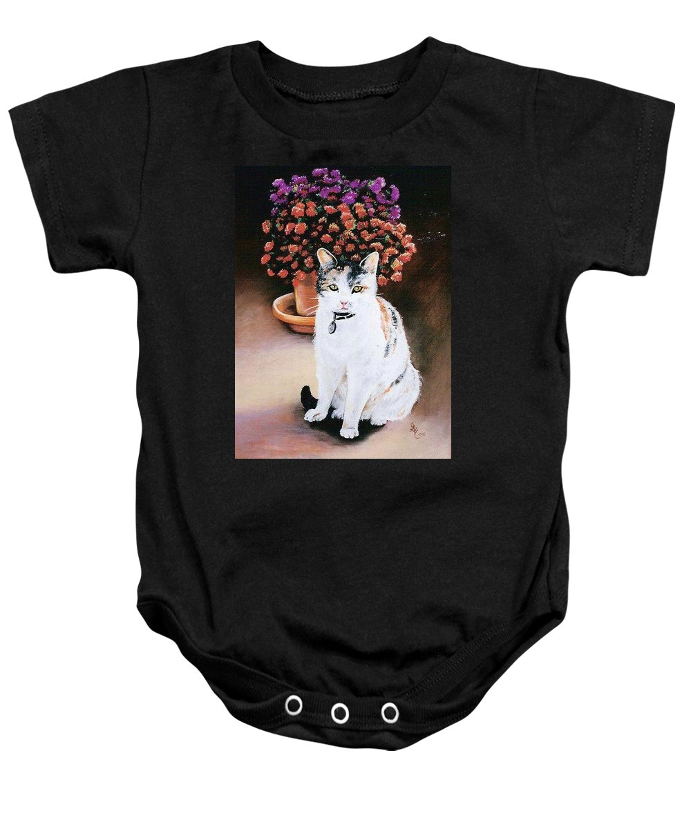 Cat Baby Onesie featuring the pastel Queen Marishka by Gale Cochran-Smith