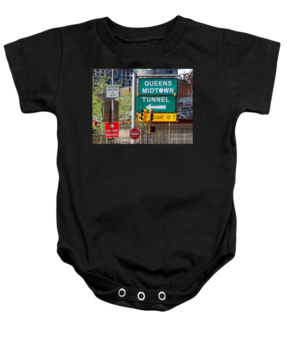 Queens Midtown Tunnel Baby Onesie featuring the photograph Queens Midtown Tunnel by Ed Weidman