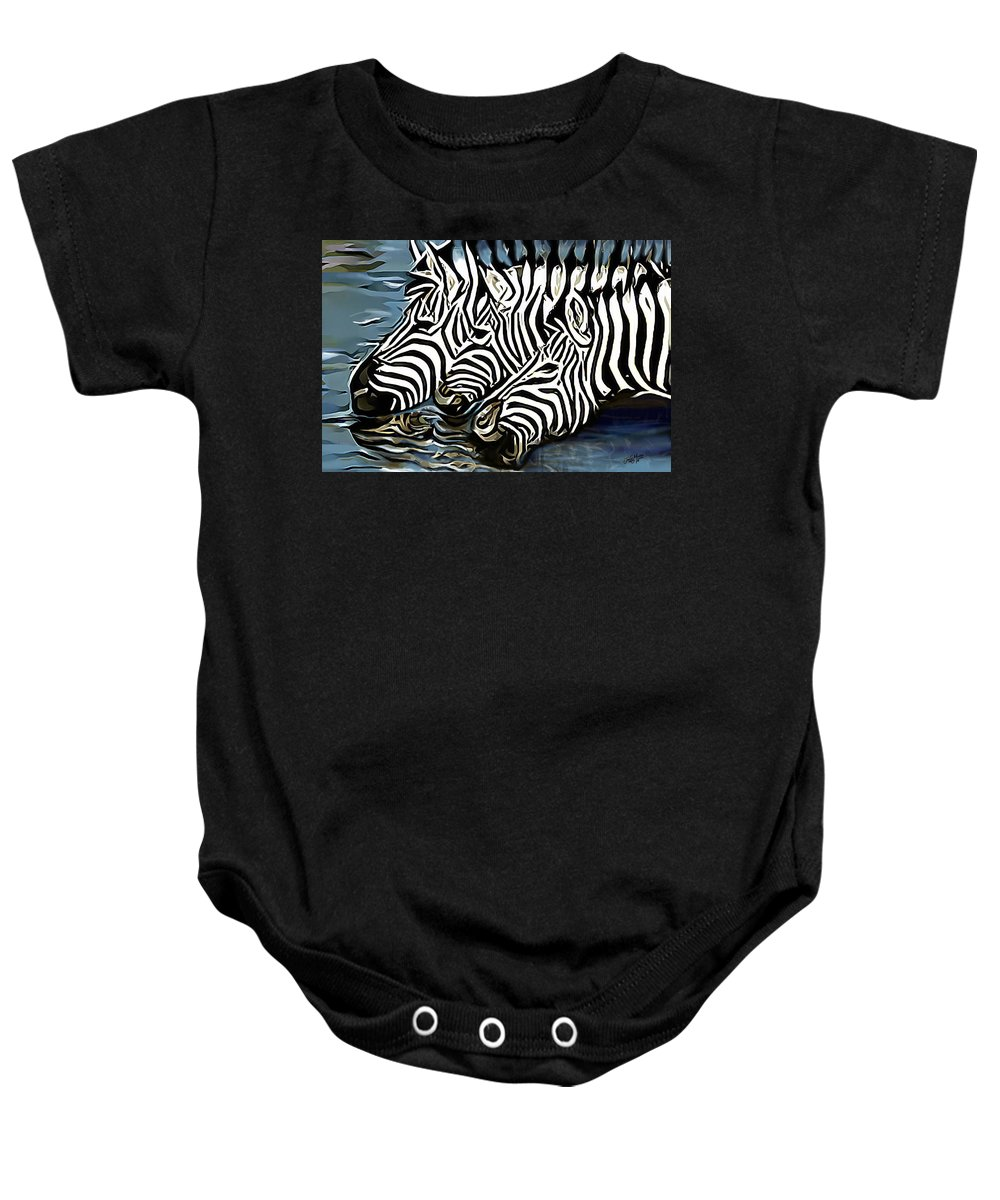 Zebra Baby Onesie featuring the painting Quenching That Thirst by James Mingo