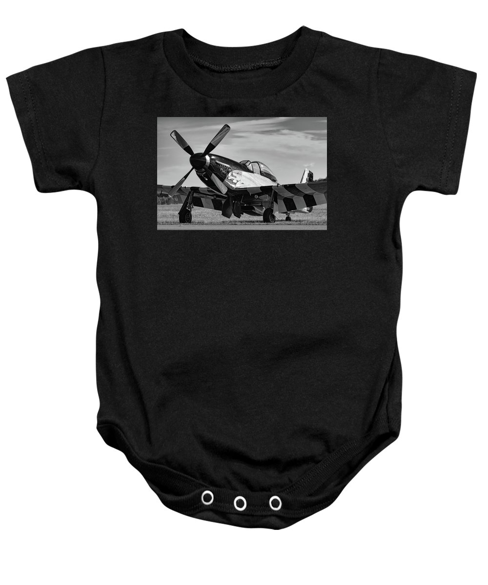Military Baby Onesie featuring the photograph Quick Silver In Black And White by Chris Buff