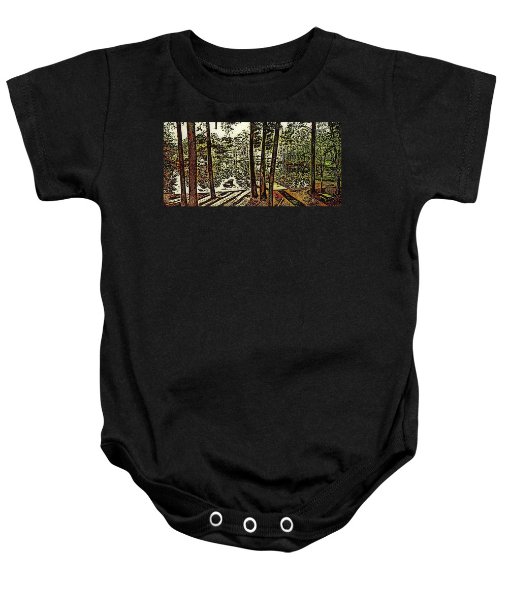 Landscape Baby Onesie featuring the digital art Quiet Pond by Carliss Prosser