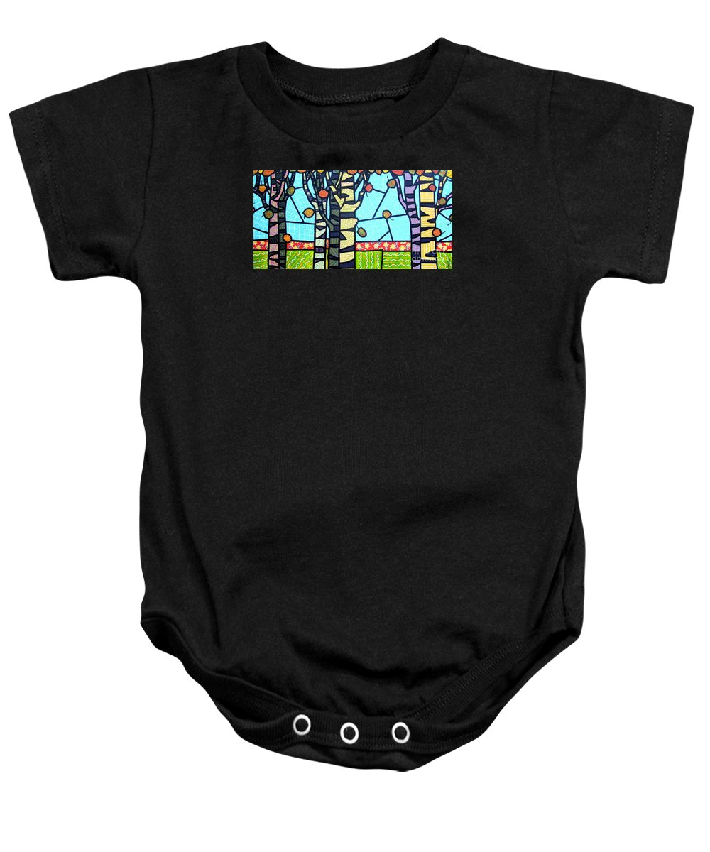 Birch Trees Baby Onesie featuring the painting Quilted Birch Garden by Jim Harris