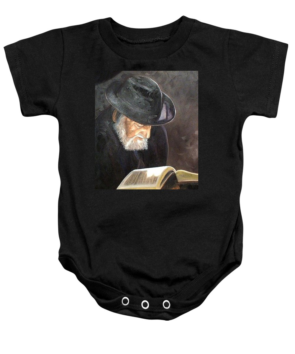 Portrait Baby Onesie featuring the painting Rabbi by Toni Berry