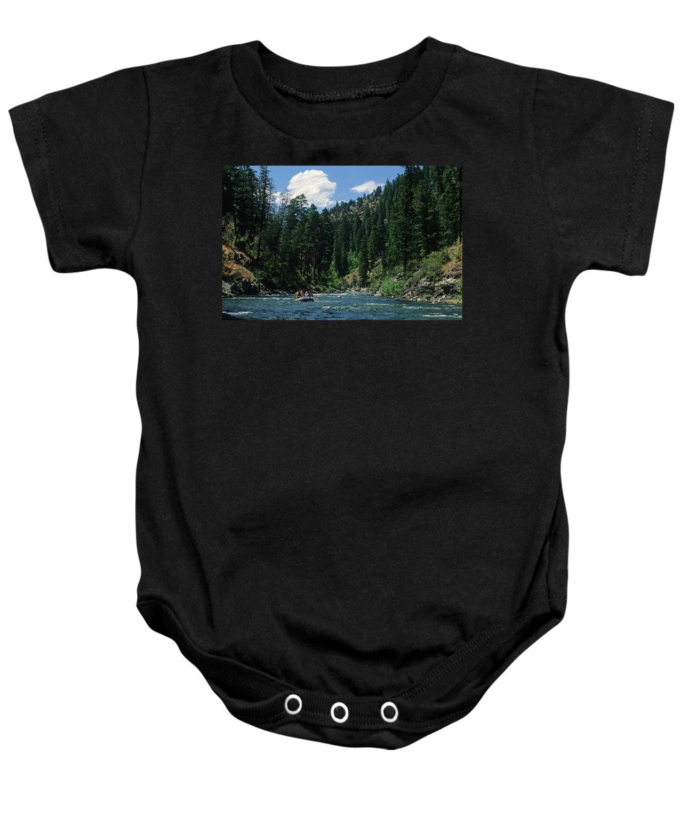 Snake River Baby Onesie featuring the photograph Rafting by Steve Williams