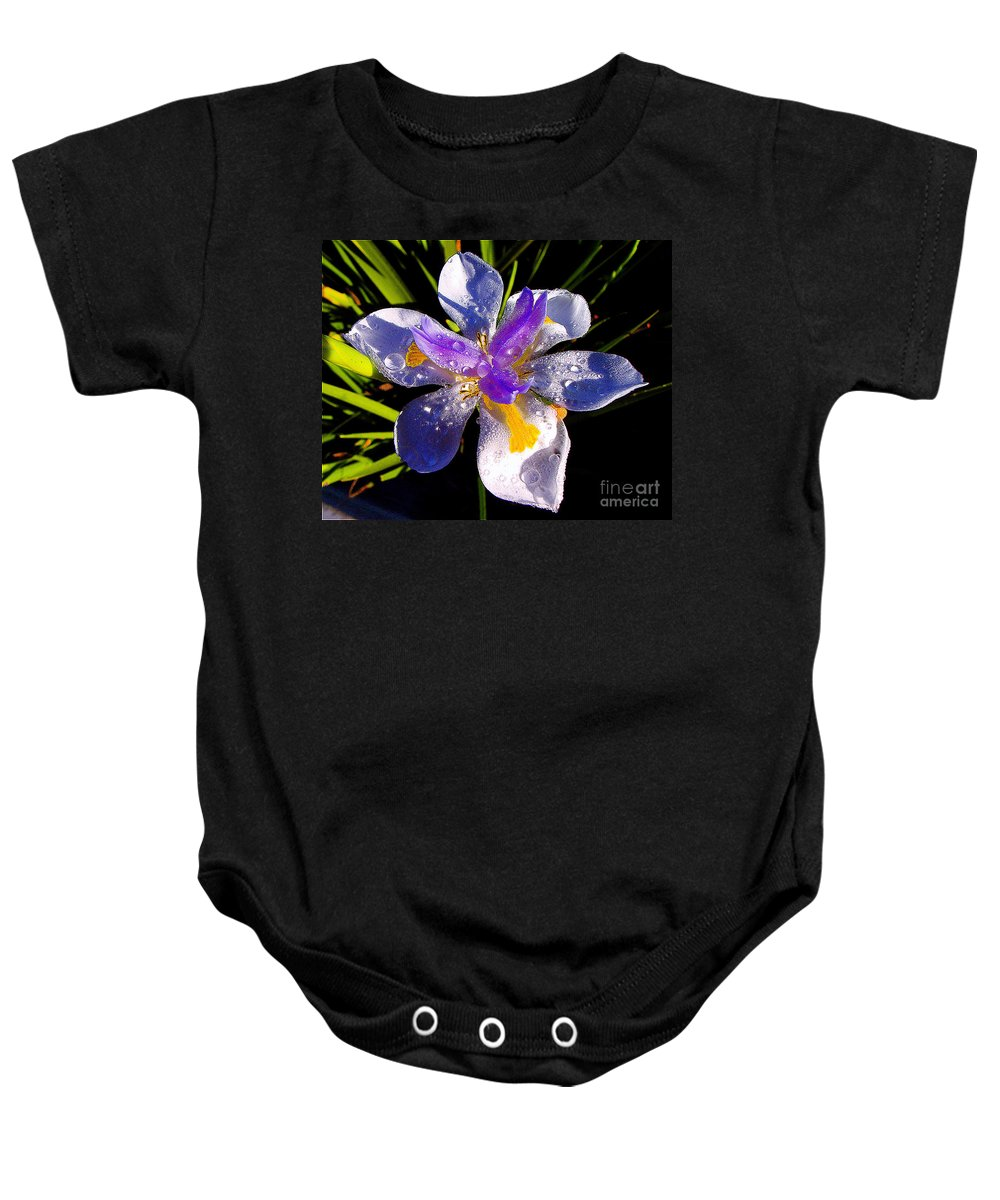 Flower Baby Onesie featuring the photograph Rain Flower Morning by Jerome Stumphauzer