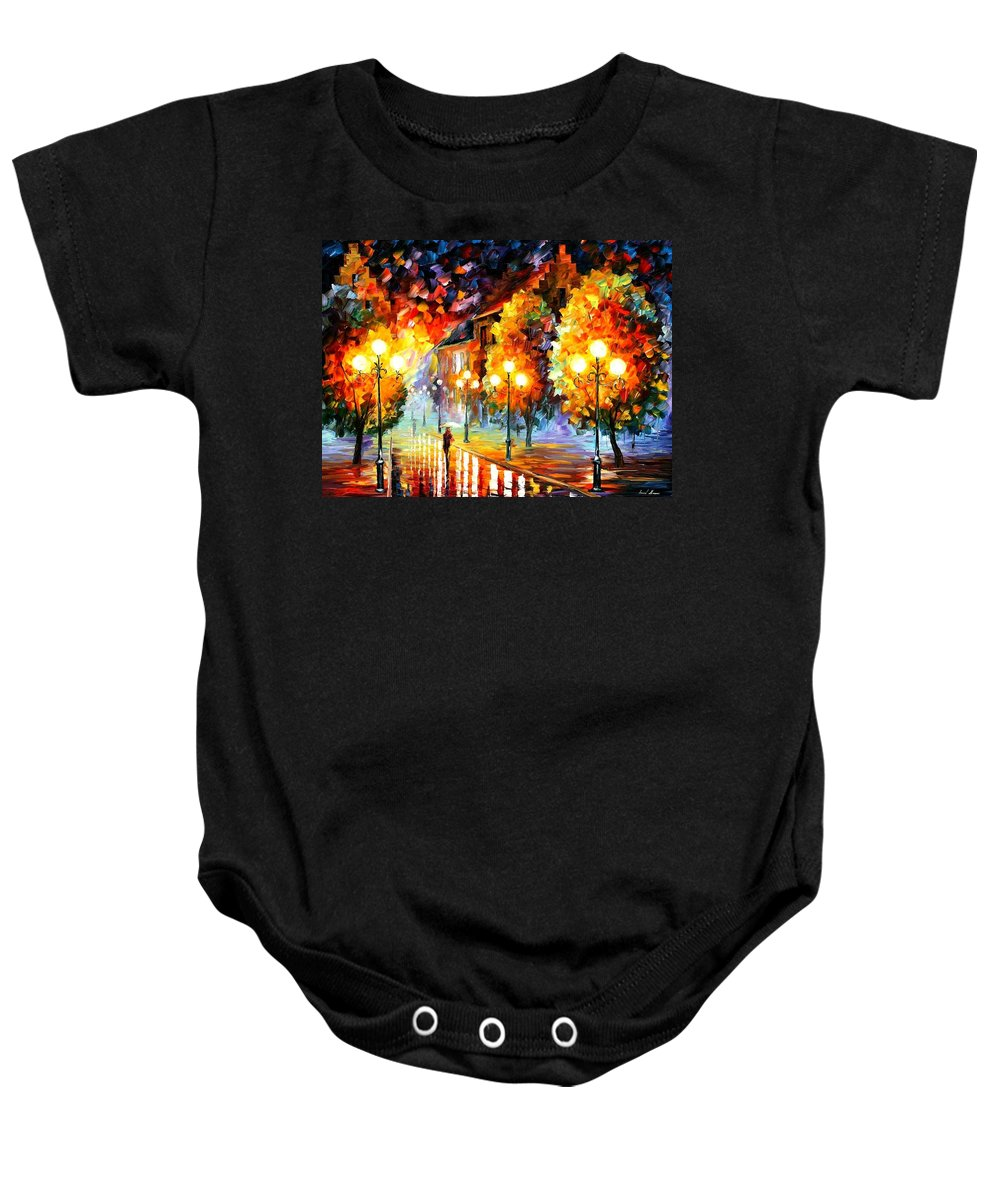 Afremov Baby Onesie featuring the painting Rain In The Night City by Leonid Afremov