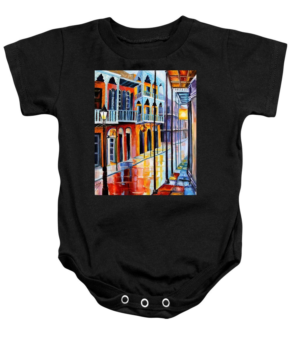 New Orleans Baby Onesie featuring the painting Rain On Royal Street by Diane Millsap