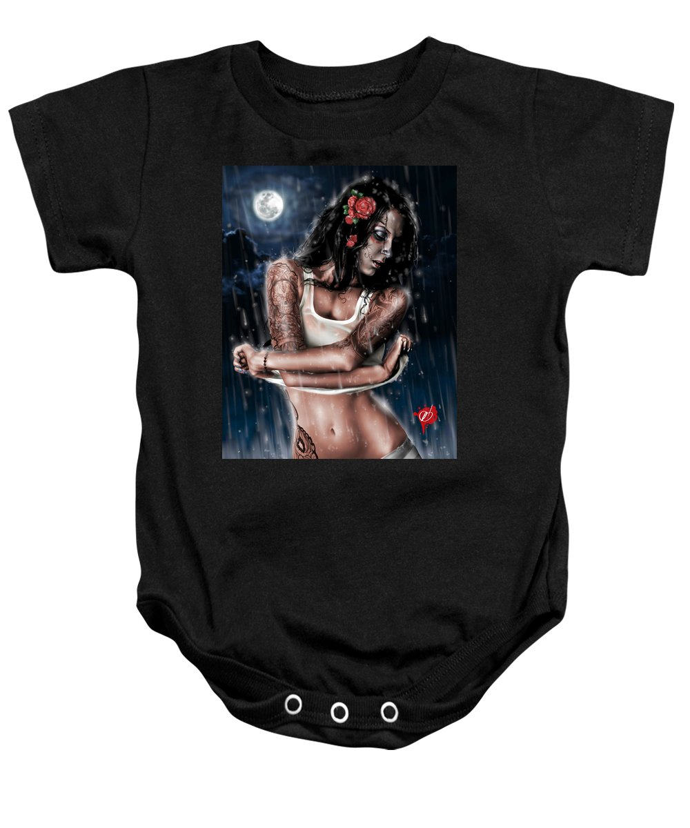 Pete Baby Onesie featuring the painting Rain When I Die by Pete Tapang