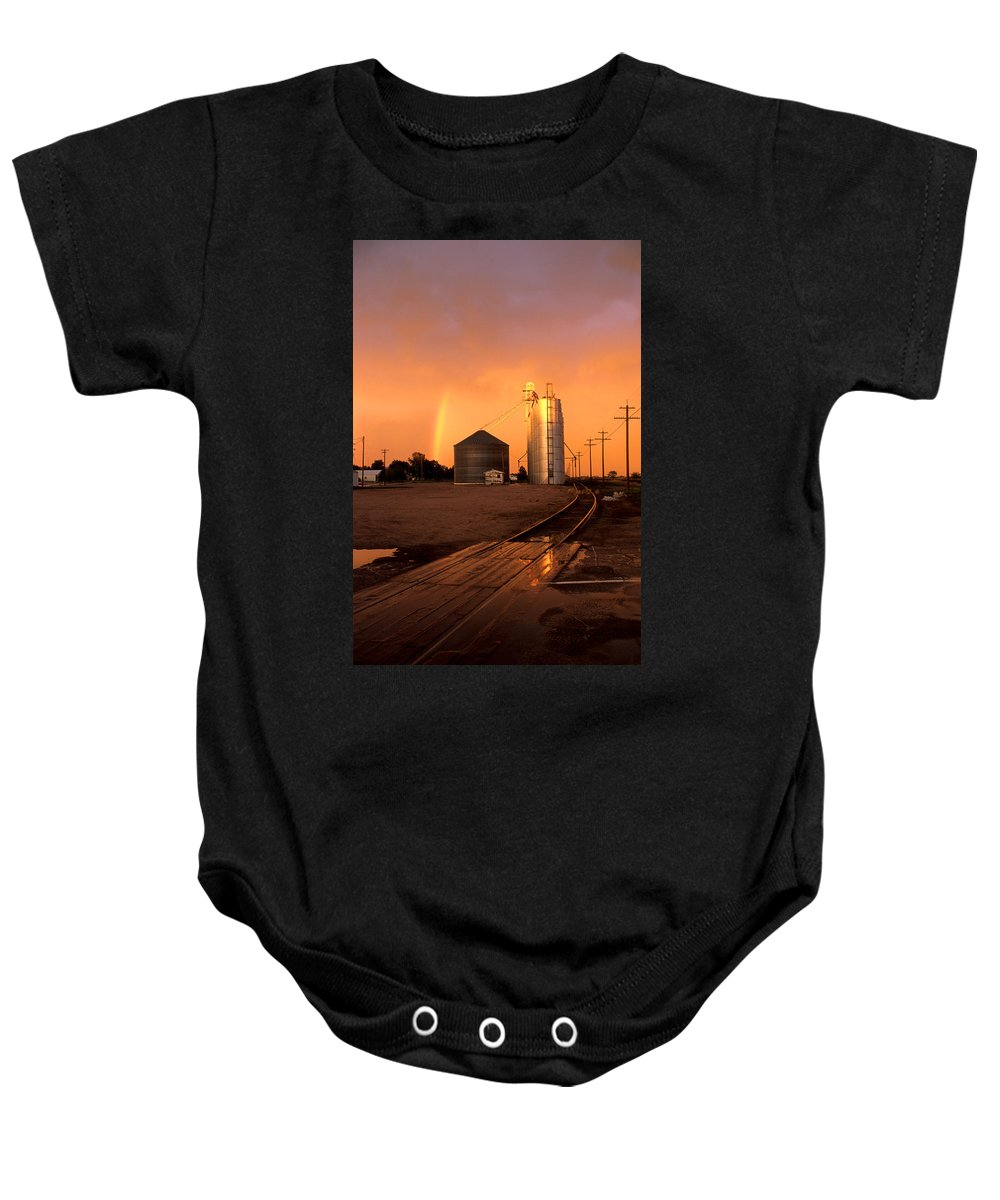 Potter Baby Onesie featuring the photograph Rainbow In Potter by Jerry McElroy