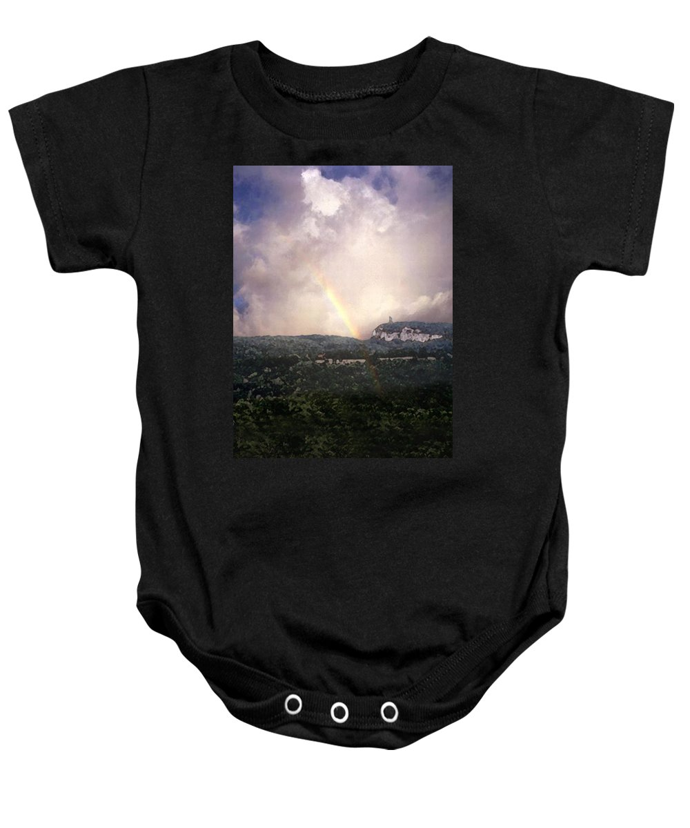 Landscape Baby Onesie featuring the painting Rainbow Over Gunks by Paul Sachtleben