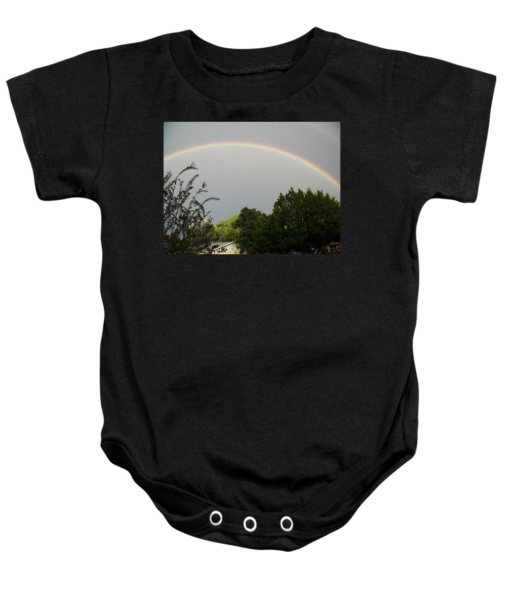 Rainbow Baby Onesie featuring the photograph Rainbow Over The Trees by Gary R Photography