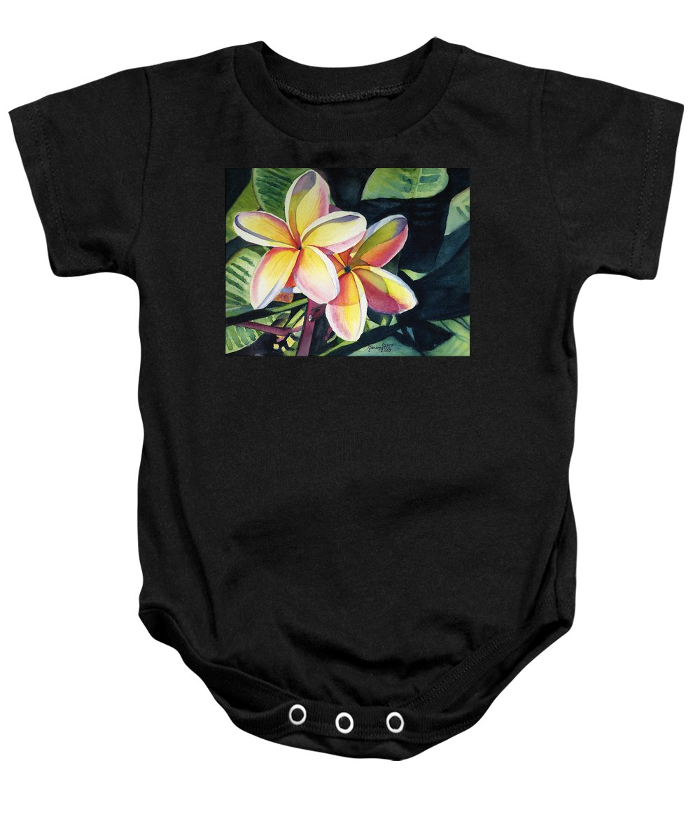 Rainbow Baby Onesie featuring the painting Rainbow Plumeria by Marionette Taboniar