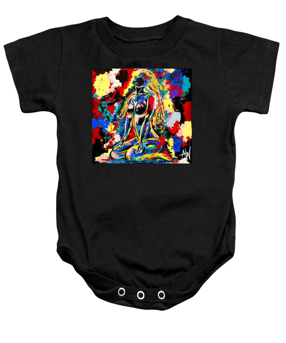 Abstract Baby Onesie featuring the painting Rainchild by Angie Wright