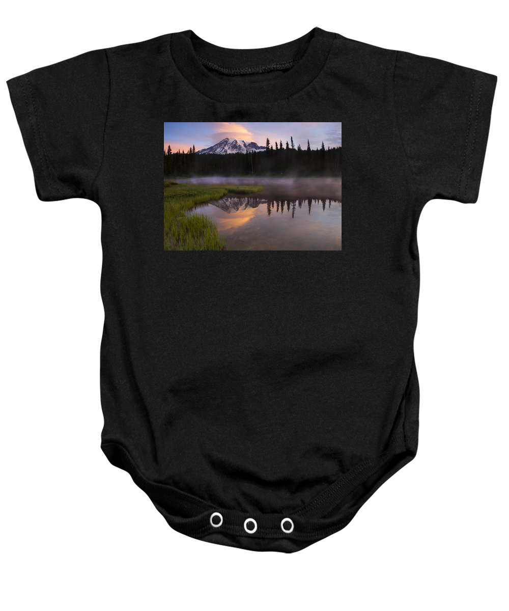 Rainier Baby Onesie featuring the photograph Rainier Lenticular Sunrise by Mike Dawson