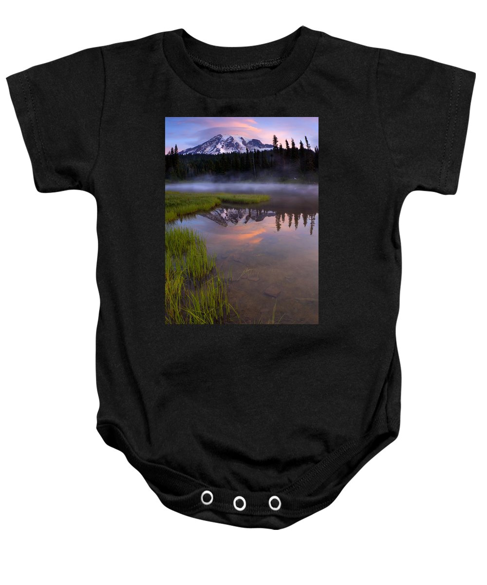 Rainier Baby Onesie featuring the photograph Rainier Sunrise Cap by Mike Dawson