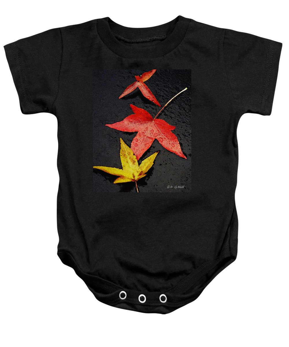 Autumn Baby Onesie featuring the photograph Rainy Day Trio by Ed A Gage