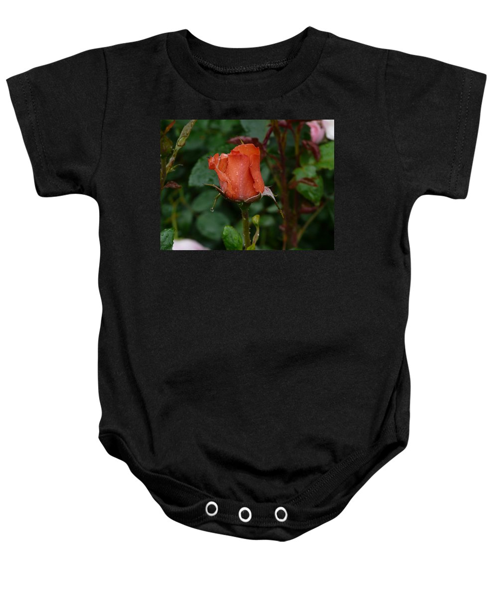 Flower Baby Onesie featuring the photograph Rainy Rose Bud by Valerie Ornstein