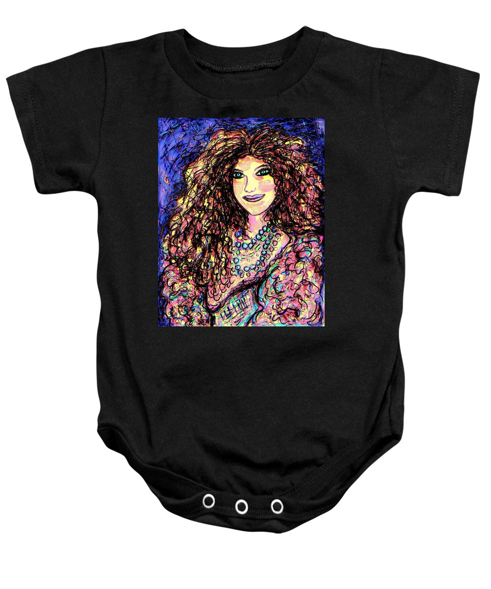 Woman Baby Onesie featuring the painting Ravishing Beauty by Natalie Holland