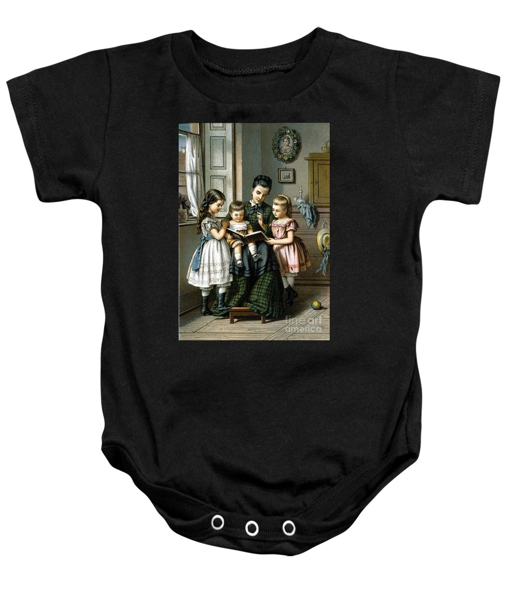 1870 Baby Onesie featuring the photograph Reading To The Children by Granger
