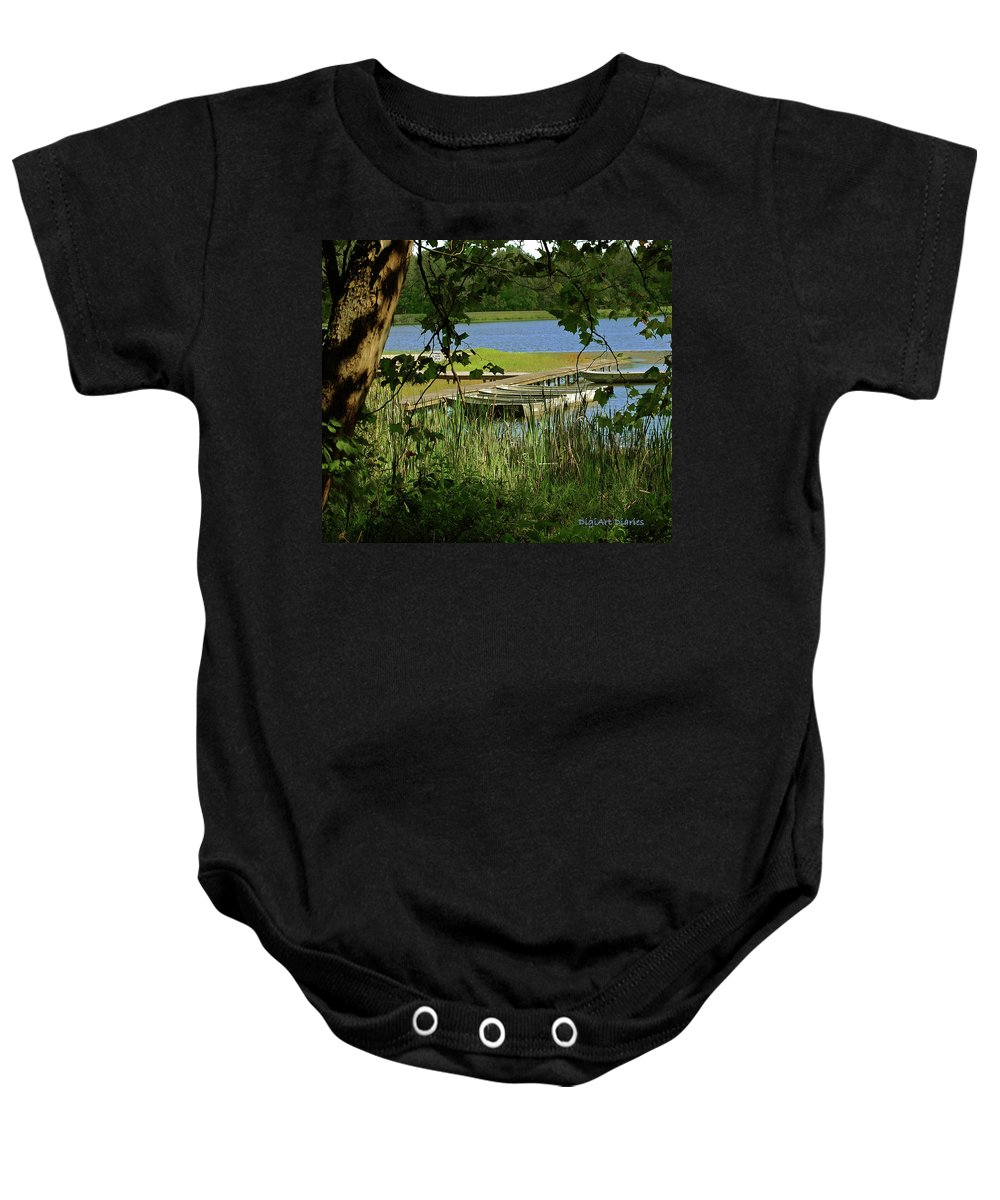 Boats Baby Onesie featuring the digital art Ready To Row With No One To Go by DigiArt Diaries by Vicky B Fuller