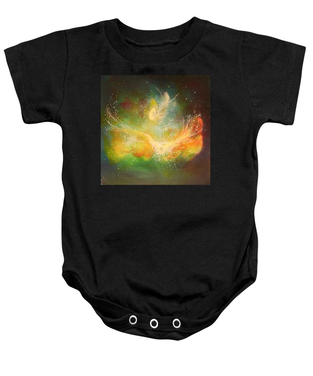 Energy Baby Onesie featuring the painting Reborn by Naomi Walker