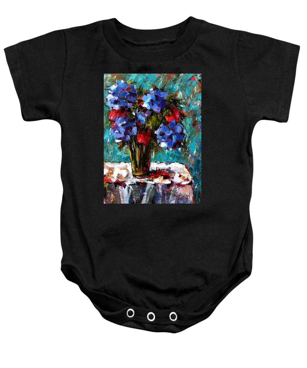 Baby Onesie featuring the painting Red And Blue by Debra Hurd