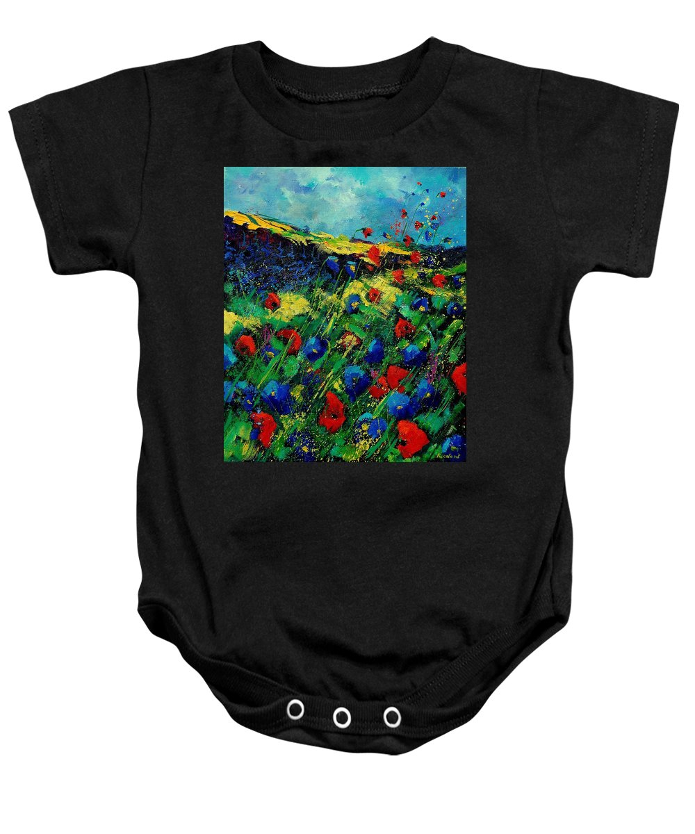 Flowers Baby Onesie featuring the painting Red And Blue Poppies 56 by Pol Ledent