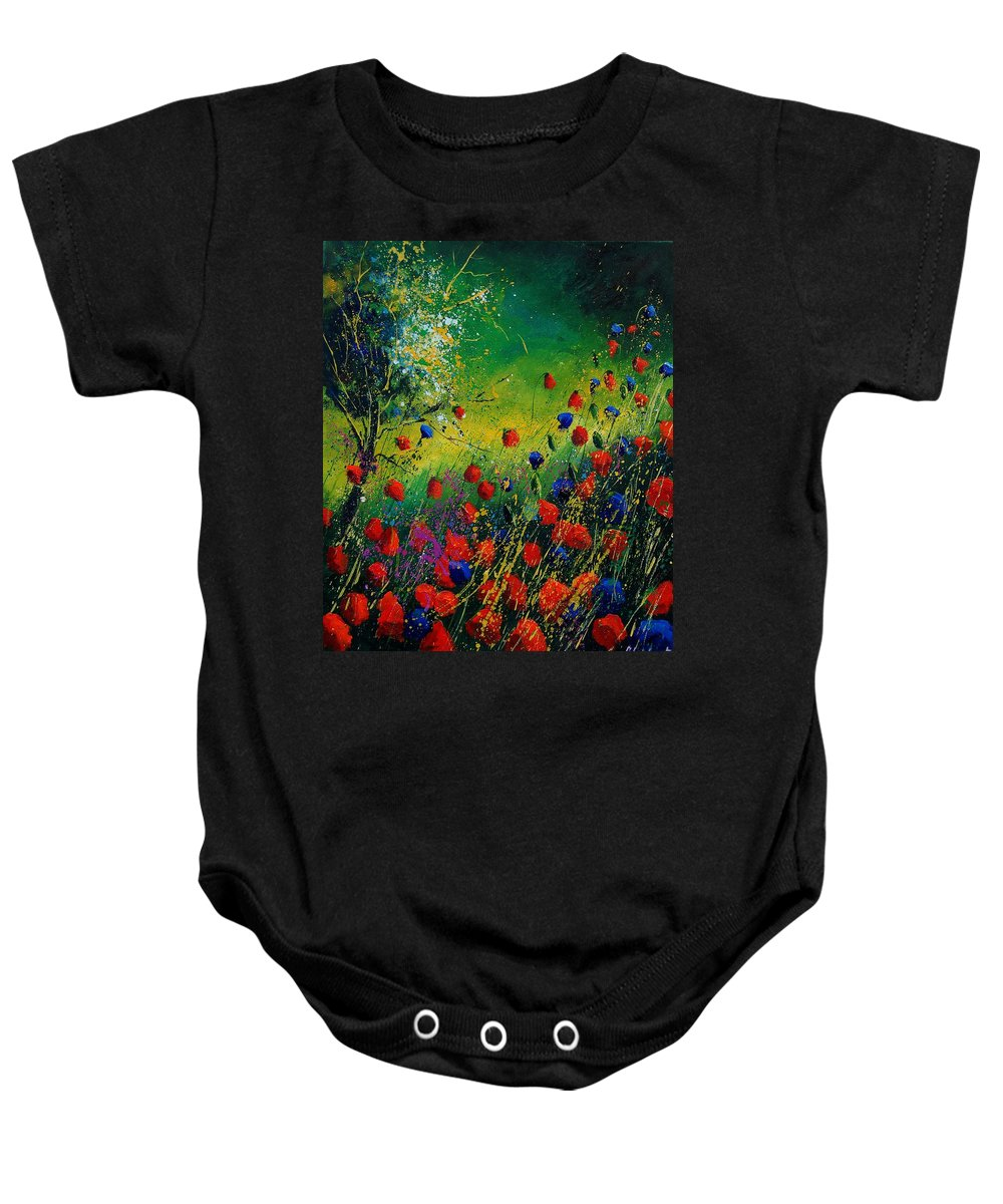 Flowers Baby Onesie featuring the painting Red And Blue Poppies 67 1524 by Pol Ledent