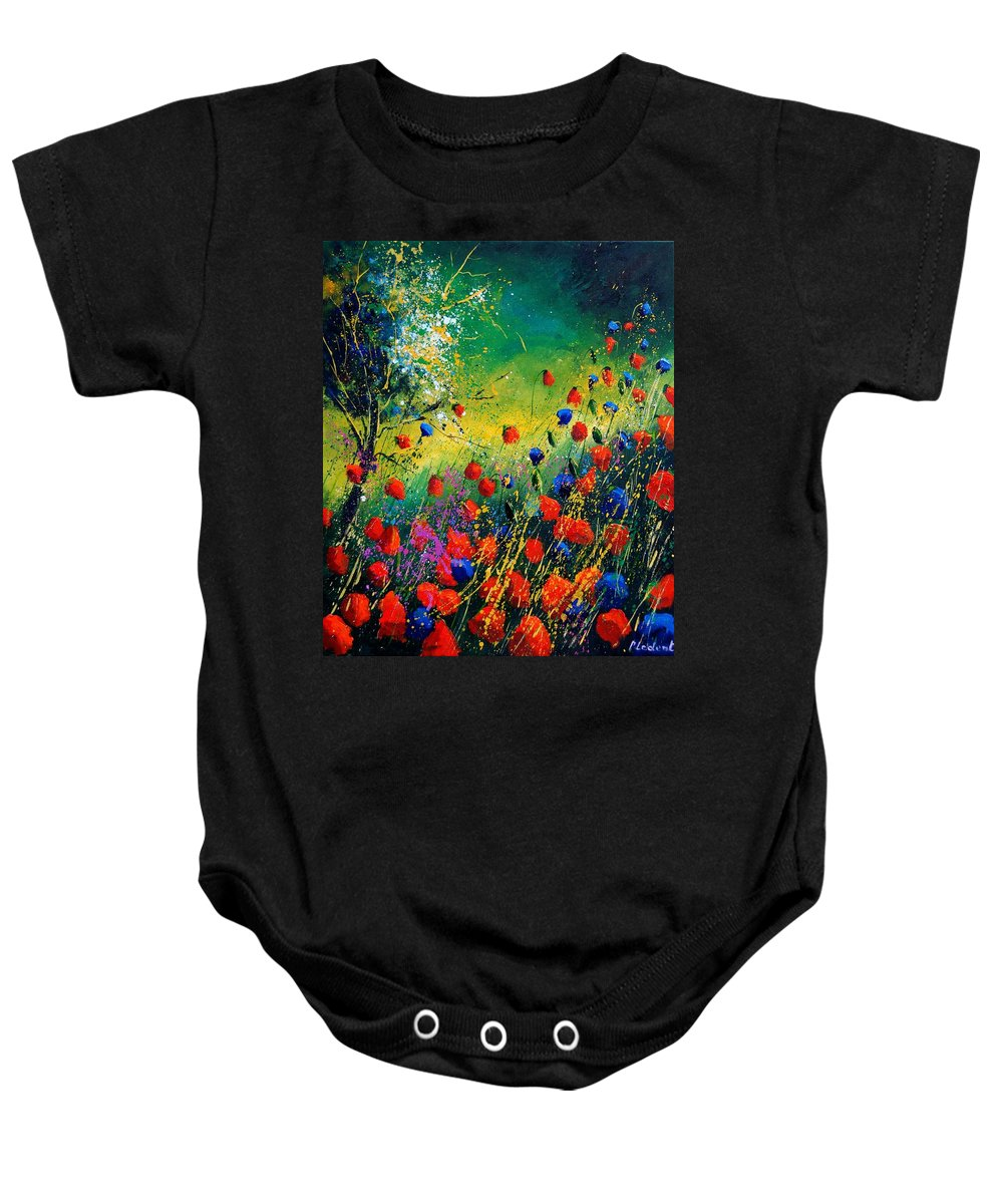 Flowers Baby Onesie featuring the painting Red And Blue Poppies by Pol Ledent