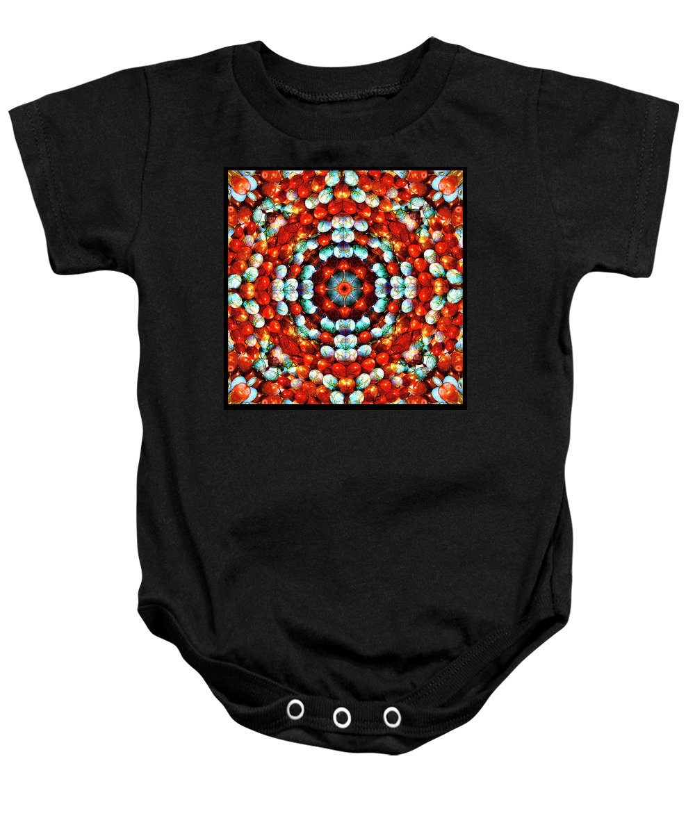 Creation Baby Onesie featuring the mixed media Red And Blue Stones by Jesus Nicolas Castanon